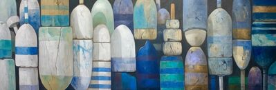 "Michel Brosseau, ' ""Menemsha Buoys"" oil painting of blue, green, and white buoys with black back', 2020"