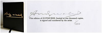 Andy Warhol, 'Collectors' Edition of Exposures: Deluxe Limited Edition (only 200 signed) 1st Edition black leather, gilt edges, signed hardback monograph, Hand signed and numbered by Andy Warhol', 1979