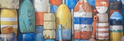 "Michel Brosseau, '""Summer Buoys"" Oil painting of bright red orange, yellow, white, and blue buoys', 2020"