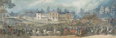 Louis-Jean Desprez, 'Royal procession at Manilla, Royal Djurgården, Stockholm, before the house of Don Ignacio María de Corral y Aguirre, Minister of Spain in Sweden and confidant of King Gustav III', ca. 1788-1793