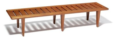 Hans Jørgensen Wegner, 'JH 574. A solid teak bench with pierced seat, mounted on six tapering legs.'