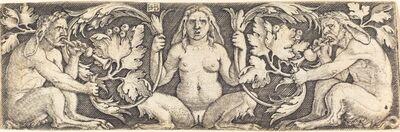 Sebald Beham, 'Ornament with Three Satyrs'