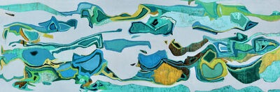"""Chase Langford, '""""Sea of Cortez"""" Abstract oil painting in greens, turquoise, grey and yellow', 2019"""