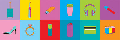 Michael Craig-Martin, 'Objects of Our Time (4 Wheel Suitcase, Credit Card, Diamond Ring, Electric Toothbrush, High Heel, Juice Carton, Long-life Battery, Memory Stick, Noise Canceling Headphones, Recycling Bins, Takeaway Coffee, Wireless Mic)', 2014