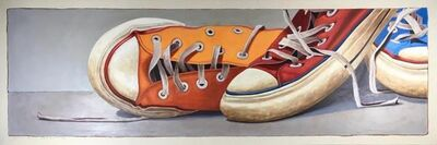 "Santiago Garcia, '""#3"" Detailed Horizontal Oil Painting of Orange, Red and Blue Converse Shoes', 2010-2018"