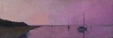 "Larry Horowitz, '""Magenta Light"" oil painting of a purple sunset reflecting on water and sailboat', 2020"