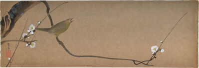 Kakunen Tsuruoka, 'Japanese Bush Warbler on a Blossoming Plum Branch', n.d.-ca. 1920s