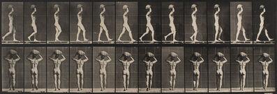 Eadweard Muybridge, 'Walking and carrying a 75-lb. stone on head,  hands raised', 1872-1885 / printed 1887
