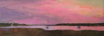 """Larry Horowitz, '""""Pink Dusk"""" panoramic oil painting of a pink sky reflecting on a harbor', 2020"""
