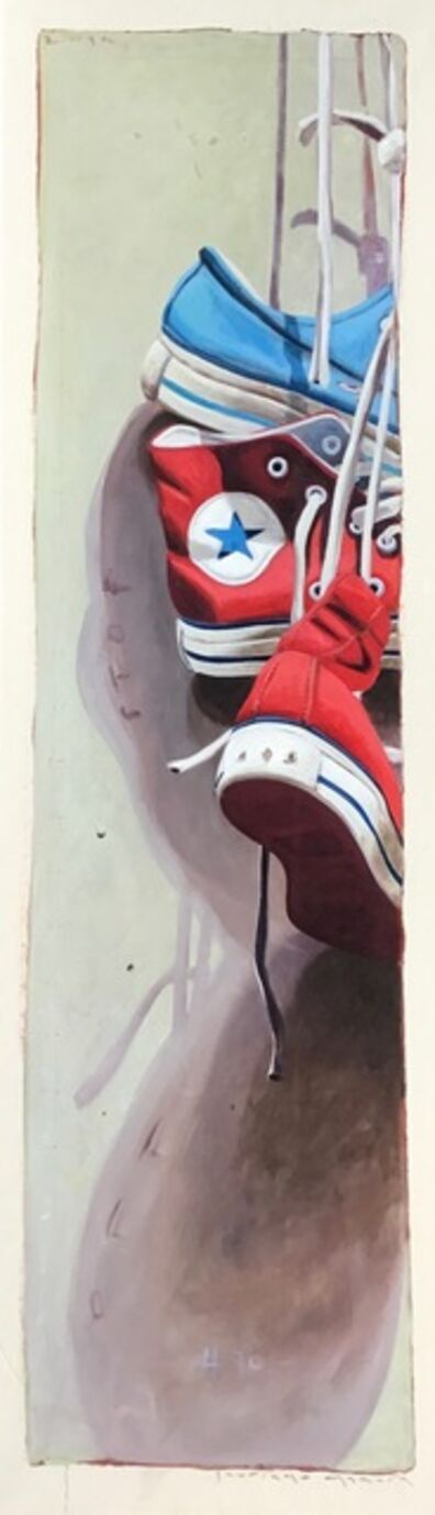 "Santiago Garcia, '""Converse #70"" Detailed Vertical oil Painting of Red and Blue Converse', 2010-2018"