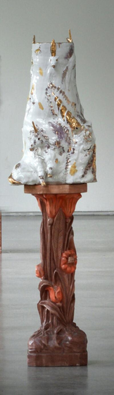 Allison Schulnik, 'Gold and White Unicorn Vessel', 2017