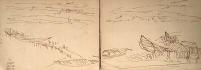 Indra Dugar, 'Jiyagunj : Landscape drawings, ink on paper by Indian Master Artist Indra Dugar, greatly influenced by Artist Nandalal Bose', 1964