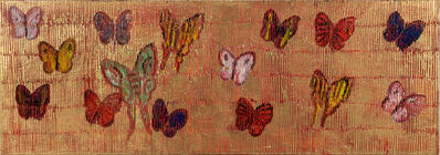 Hunt Slonem, 'Untitled (multi-colored butterflies on gold background)', 2020