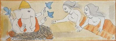 "Badri Narayan, 'Ganesha, Water colour on Paper by Padmashree Modern Artist ""In Stock""', ca. Circa"
