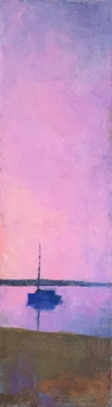 """Larry Horowitz, '""""Pink Sailboat"""" vertical oil painting of pink sky over a boat at sunset', 2020"""