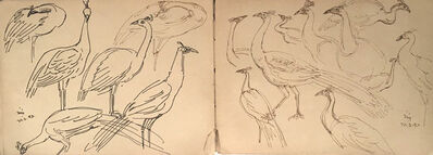 Indra Dugar, 'Birds drawing in ink on paper by Bengal School Artist Indra Dugar, influenced by Artist Nandalal Bose', 1976