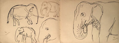 Indra Dugar, 'Elephant, animal drawing, Ink on paper by Bengal Master Artist Indra Dugar', 1976