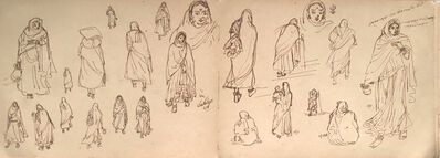 Indra Dugar, 'Drawing of rural women, ink on paper by Bengal Master Artist Indra Dugar', 1964