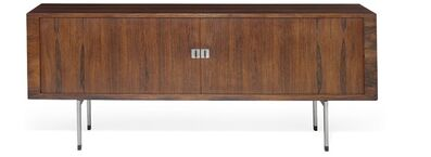"""Hans Jørgensen Wegner, 'RY 25. A Brazilian rosewood sideboard, steel frame with rosewood """"shoes"""". Front with two tambour doors with steel handles. Oak interior with shelves and trays.'"""