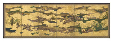 Unknown Artist, 'Folding Screen, Samurai Warriors on Horse Back (T-3628)', Edo period (1615, 1868), 17th century