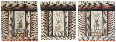 Martín Ramírez, 'Untitled (Man Riding Donkey, Triptych)', 1960-1963