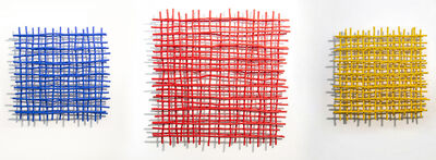 Shayne Dark, 'Gridlock Trio - blue, red, yellow, grids of aluminum, triptych wall sculpture', 2020
