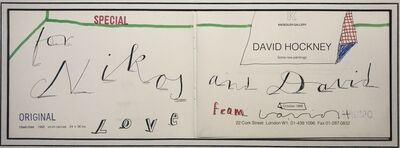 David Hockney, 'Hand Drawn with doodles 'Love from David' for Nikos Stangos', 1988