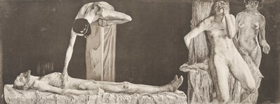Käthe Kollwitz, 'Zertretene. – Leichnam und Frauenakt am Pfahl (The Downtrodden - Corpse and Nude Woman at Post)', Date of Impression 1963-1972. Date of Plate 1900.