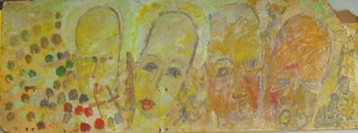 Purvis Young, 'Purvis Young, Four Yellow Angels, Painting on Fiber Board circa 1990', ca. 1990