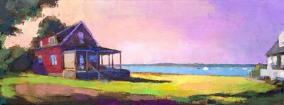 """Larry Horowitz, '""""St. Andrews Panorama"""" oil painting of a red house on the water with a pink and purple sunset', 2018"""