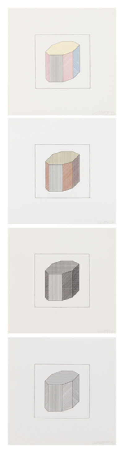 Sol LeWitt, 'Twelve Forms Derived From a Cube (complete portfolio of 48 screenprints with title and justification pages in wooden case)', 1984