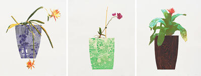 Jonas Wood, 'Three Landscape Pots: Night Bloom, Orchid, Bromeliad ', 2019