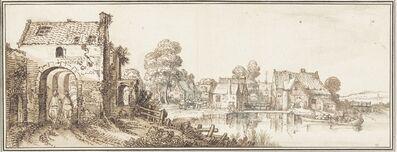 Jan van de Velde II, 'A Village on a Broad River', 1616