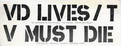 Vito Acconci, 'The Kitchen, Vito Acconci, VD LIVES / TV MUST DIE, Card', 1978
