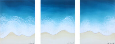 """Anna Sweet, '""""Beach House Views (Triptych)"""" mixed media painting of deep blue waves from aerial view', 2020"""