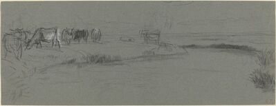 Constant Troyon, 'River Bank with Cattle', probably after 1850