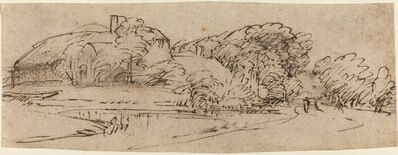 Rembrandt van Rijn, 'A Landscape with Farm Buildings among Trees', ca. 1650/1655