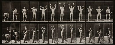 Eadweard Muybridge, 'Animal Locomotion: Plate 322 (Man Lifting Dumbbells)', 1887