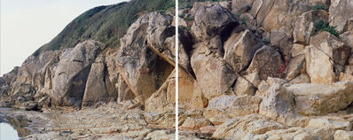 Fabio Barile, 'The Manciano Sandstone forms several discontinuous outcrops in different zones of north western Latium and southern Tuscany. The chronostratigraphic data suggest an age between 5.47 and 5.77 Ma, corresponding to the upper part of Messinian. Thick layer are observable in the stratigraphy and the presence of bioturbation suggest the formation in a beach enviroment. Sandstone is a clastic sedimentary rock composed mainly of sand-sized minerals or rock grains. (Diptych)', 2015