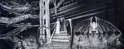 Jim Shaw, 'Donald and Melania Trump descending the escalator into the 9th circle of hell reserved for traitors frozen in a sea of ice', 2020