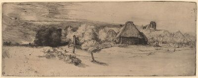 Rembrandt van Rijn, 'Landscape with Trees, Farm Buildings and a Tower', ca. 1651