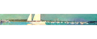 "Larry Horowitz, '""Yawl in the Harbor"" panoramic oil painting of a sailboat in Edgartown Harbor', 2017"