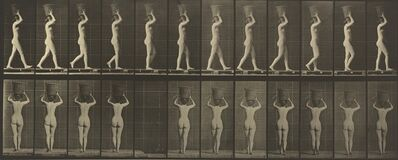 Eadweard Muybridge, 'Walking and Carrying a 15-lb. Basket on Head, Hands Raised', ca. 1887