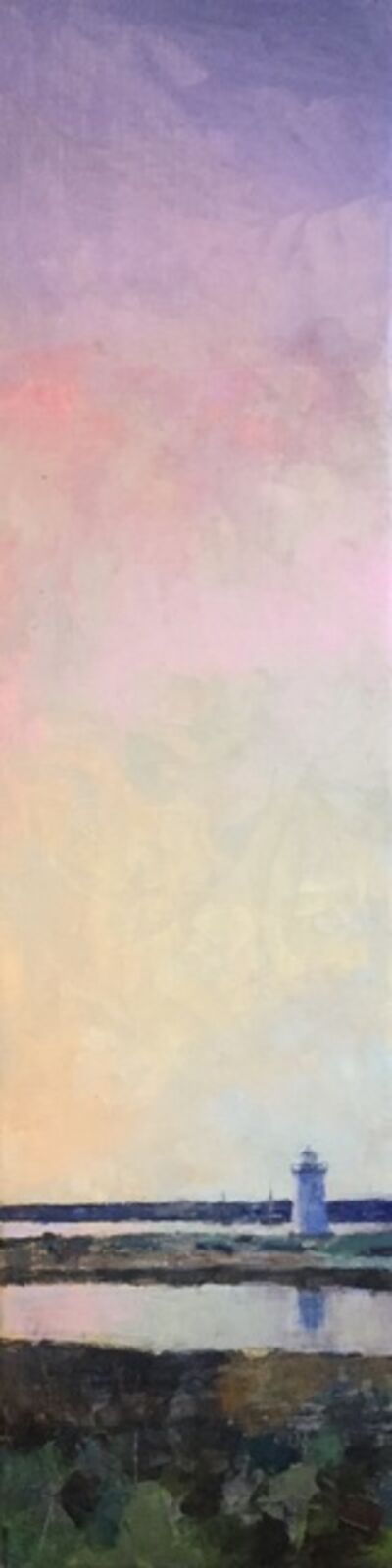 """Larry Horowitz, '""""A Sunset Over Edgartown"""" vertical oil painting of pink and purple sunset', 2020"""