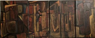 Rebeca Mendoza, 'Argentine Abstract Constructivist Quadriptych Oil Painting Latin American Woman', 1990-1999
