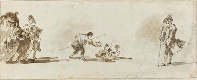 Francesco Guardi, 'An Elegant Couple, a Gooseboy, and a Gentleman [recto]', ca. 1780