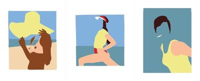 Casey Waterman, 'Sun Hat, Tennis and Cig (Triptych)', 2018