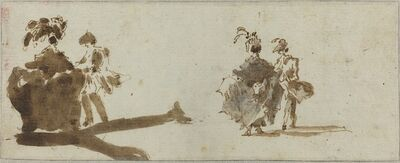 Francesco Guardi, 'Two Elegant Couples [verso]', ca. 1780