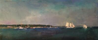 """Larry Horowitz, '""""Sailing Off Vineyard Haven"""" oil painting of sailboats in a harbor with deep blue ocean', 2020"""