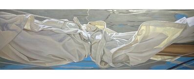 "Michel Brosseau, '""Reflections"" oil painting of a folded sail with reflection on water below', 2020"